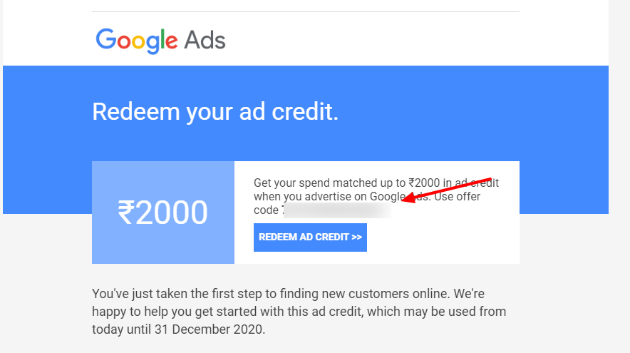 how to et Google Ad Credit