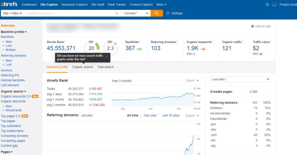 ahref webmaster tools result